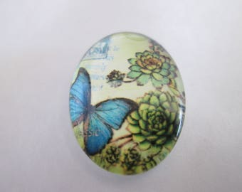a cabochon glass 25 x 18 mm blue butterfly pattern