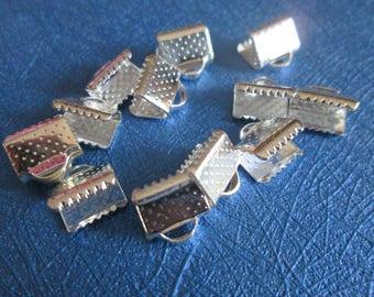 10 10 mm silver crimps / crimp ends