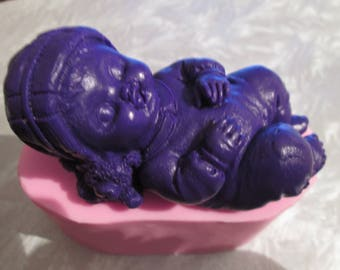 Great baby silicone mold model boy and his teddy bear