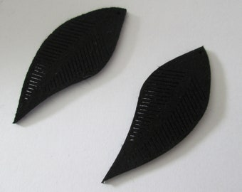 2 charms leaves 45 x 17 mm Black Suede