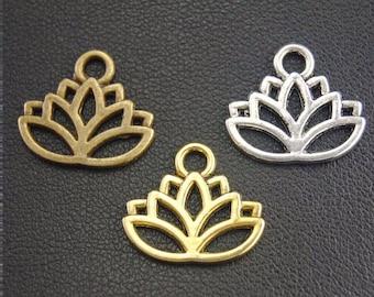 9 metal lotus charms 3 shades 17 x 14 mm
