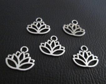 10 Lotus flower charms 17 x 14 mm silver metal