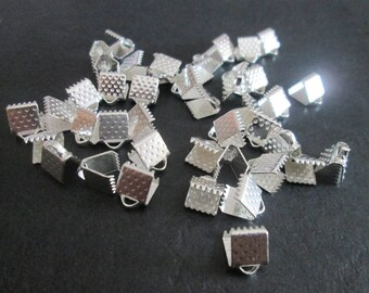 10 6 mm silver crimps / crimp ends