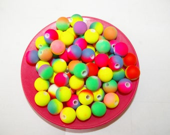 50 multicolored neon Matt beads acrylic 10mm in diameter