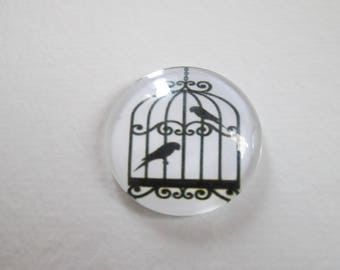 A printed round cabochon 25 mm birds