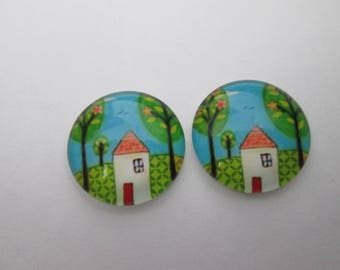 2 trees and House pattern 16 mm glass cabochons