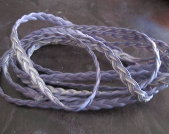 faux 5 mm purple flat braided leather cord