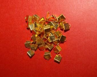 10 Gold 6 mm crimps / crimp ends
