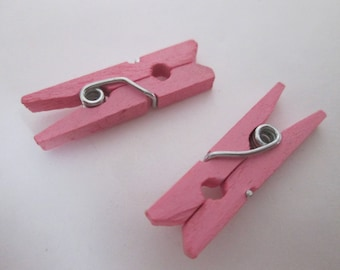x 10 linen wooden clothespins painted 26 x 8 x 3 mm light pink