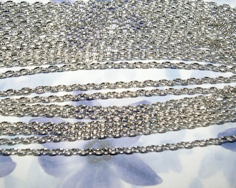 matte silver plated chain open mesh 4.5x3 mm sold per meter