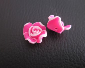 2 pearls Blush Pink and white 12mm polymer clay