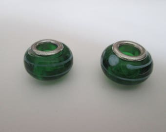 2 green and white 14 mm lampwork European beads