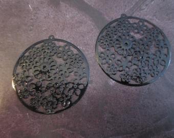 2 prints /connecteurs round black filigree in 42 mm
