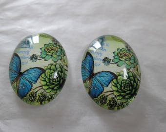 2 cabochons glass 25 x 18 mm blue butterfly pattern