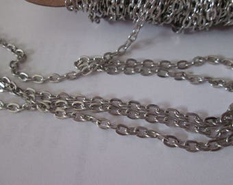matte silver plated chain open mesh 4.1 x 3 mm sold per meter