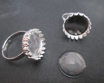 a round silver ring holder and 15 mm glass cabochon
