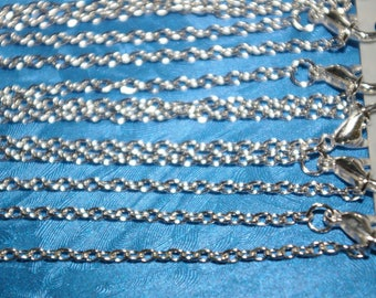 12 silver 46cm chains open mesh 4 x 3 mm lobster clasp fastening