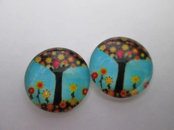 2 cabochons verre rond 16 mm motif arbre de vie