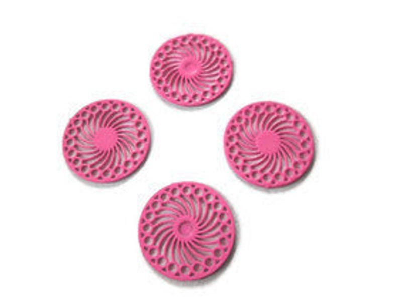 4 round prints filgranes dew 14 mm metal rosettes