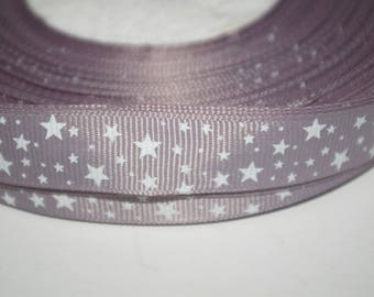 Grey Gros Grain Ribbon with white stars on 16mm sold per meter