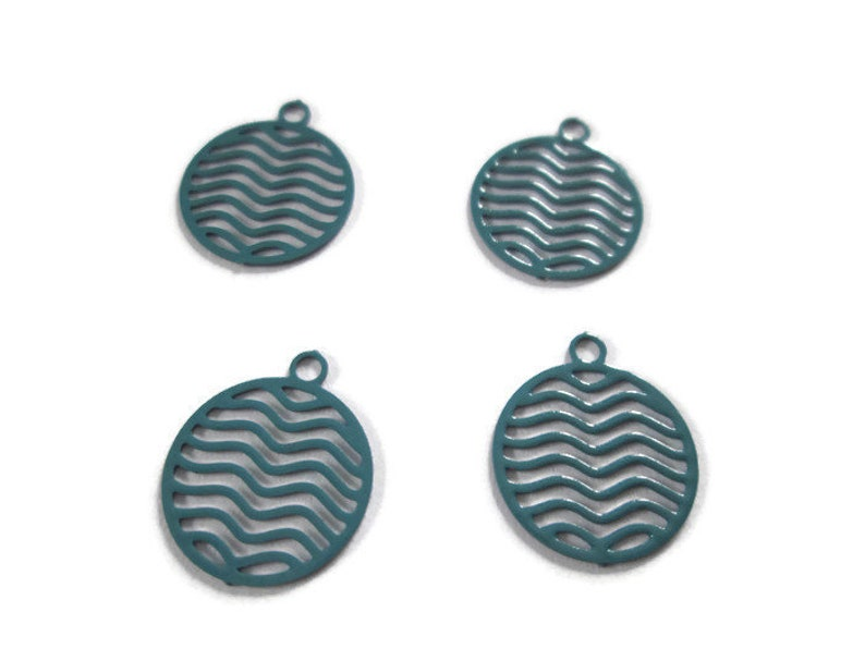 4 round green prints charms round metal 13 x 11 mm