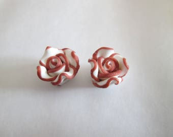 2 beads pink flower polymer clay white and Brown 12mm