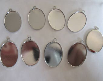 x 2 lace edged oval silver / Locket for 25 * 18mm cabochons