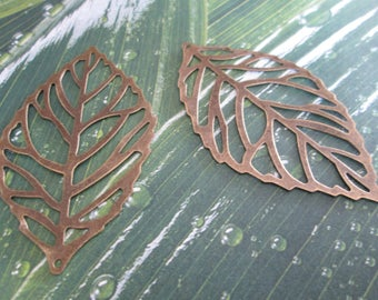 2 charms, bronze leaves prints filigree 65 x 38 mm