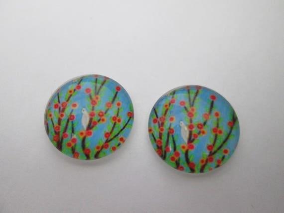 2 cabochons verre 16 mm motif abre à oiseau