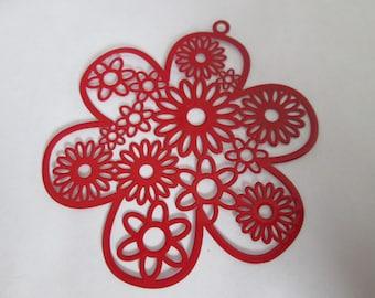 2 metal 55 mm red flower prints