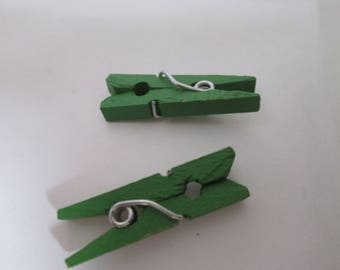 x 10 linen wooden clothespins painted 26 x 8 x 3 mm Green