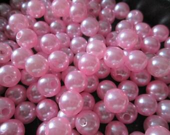 set of 10 Pink 8 mm acrylic beads