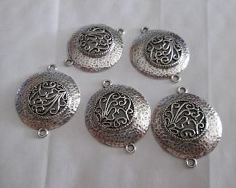 2 beautiful connectors round filigree silver 30 x 36mm