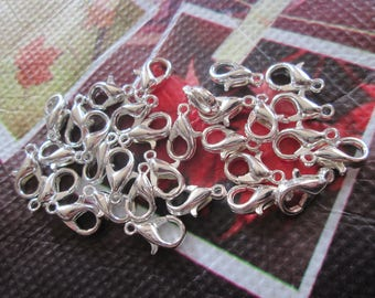 20 clear 10 x 5 mm silver plated lobster
