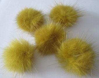 X 5 pom pom fur brown green 25 - 30 mm to stick