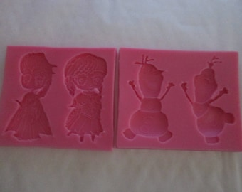 The snow Queen silicone mold: Elsa, Anna and Olaf for sugar or almond paste
