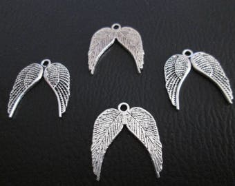 10 double wings 22 x 19 mm silver plated charms