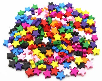 wood star beads 15 mm 20 beads