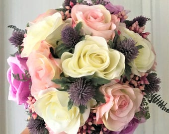 Gorgeous Roses andThistles Scottish Theme Brides wedding Posy bouquet