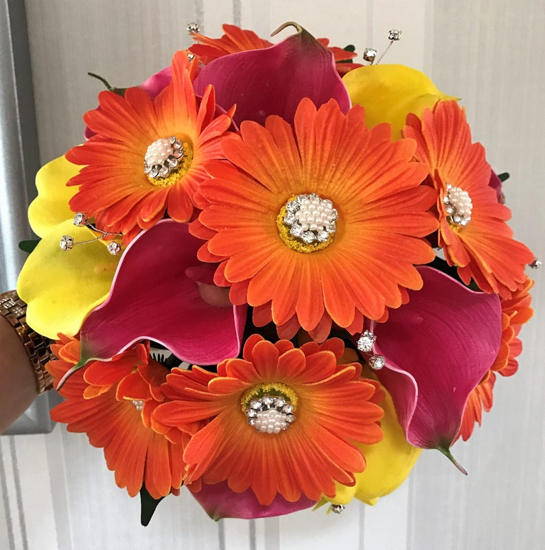 Brides Real Touch Tropical colours Orange Gerbera Yellowfuchsia calla lillies Wedding Bouquet