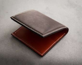 819a9671ca96 Luxury european leather classic bifold wallet Handstitched premium quality  slim purse Bespoke mens gift made of French calf