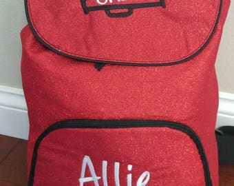 Personalized Embroidered GLITTER Backpack Cheer Bag Sports Backpack - 5 Colors