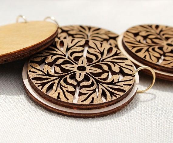 Laser Engraved Wooden Mandala Pendant