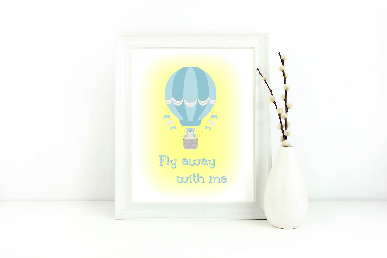 Fly away hot air balloon teddy bear nursery wall art print | Etsy
