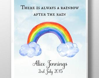 Personalised Rainbow baby print, rainbow baby gift, nursery decor, new baby gift, new baby art, nursery wall art, kids room, nursery art