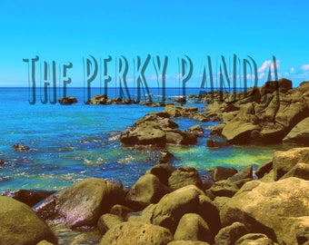 Rustic photo print, vintage, beach, rocks, sea, blue sky, coast, Hawaii, retro photo print, old photography, home decor, wall art