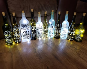 d8d0895e Lighted Wine Bottle Decor / Wine / Drinking Themed Gifts