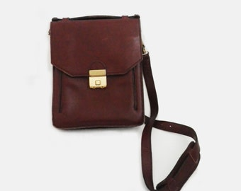 4da140ba0a Sac bandoulière Vintage en cuir marron foncé avec code