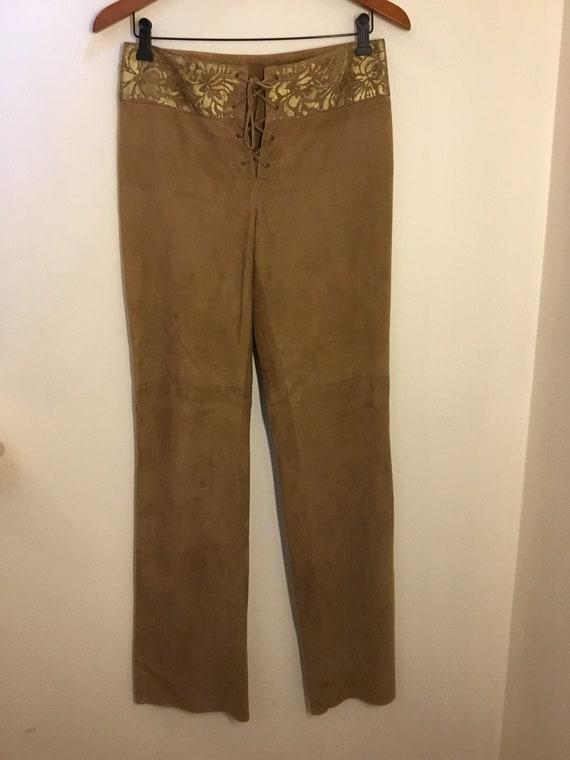 Ralph Lauren black label brown suede lace up Pants