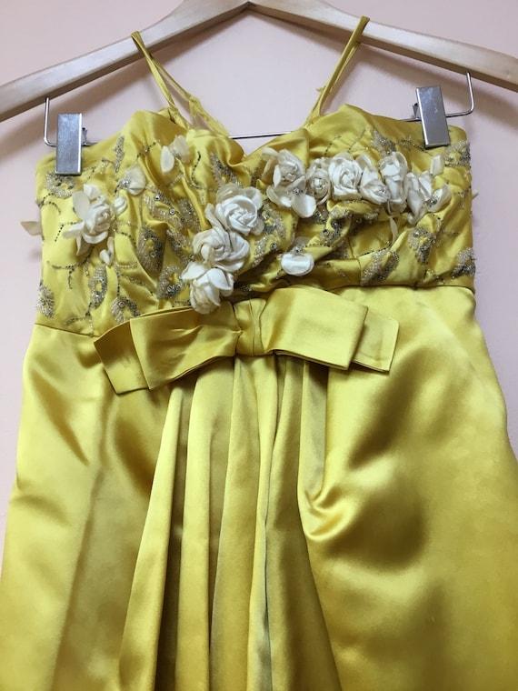 Vintage 1950's Harvey Berin Yellow Silk Gown - image 3